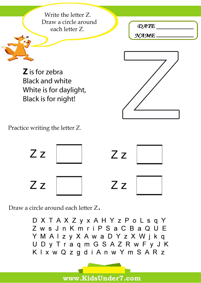 Kids Under 7: Letter Z Worksheets