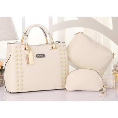 BONIA DESIGNER BAG - 3 IN 1 SET ( CREAM )