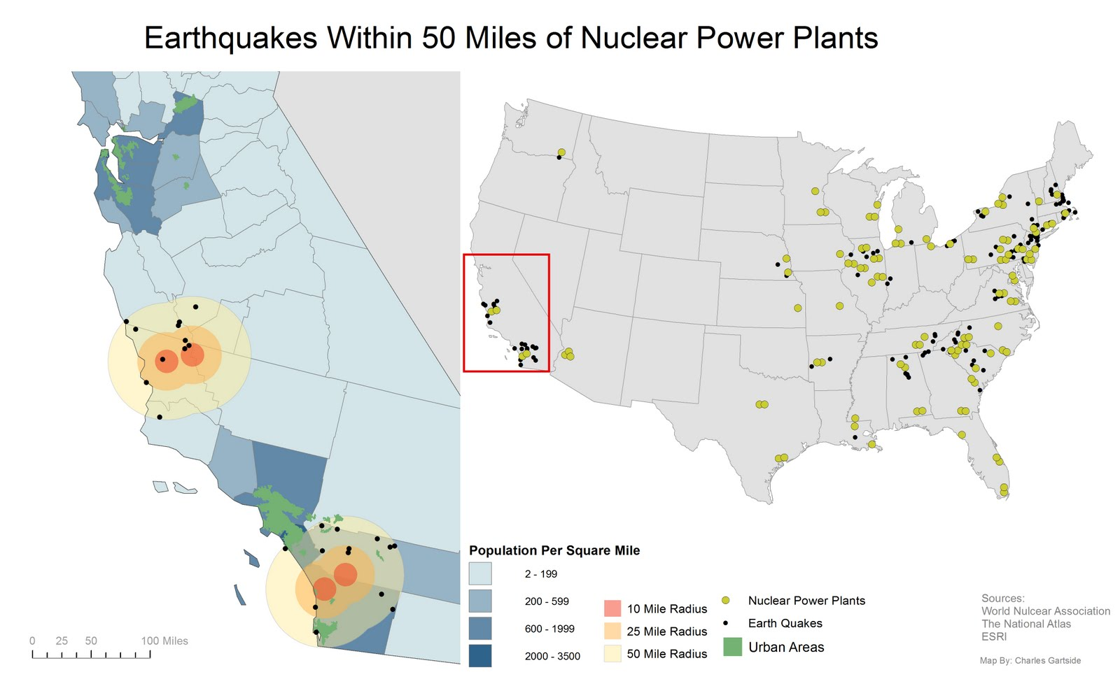 Is California Prepared Map Of Earthquakes Within Miles Of - Us map of nuclear power plants
