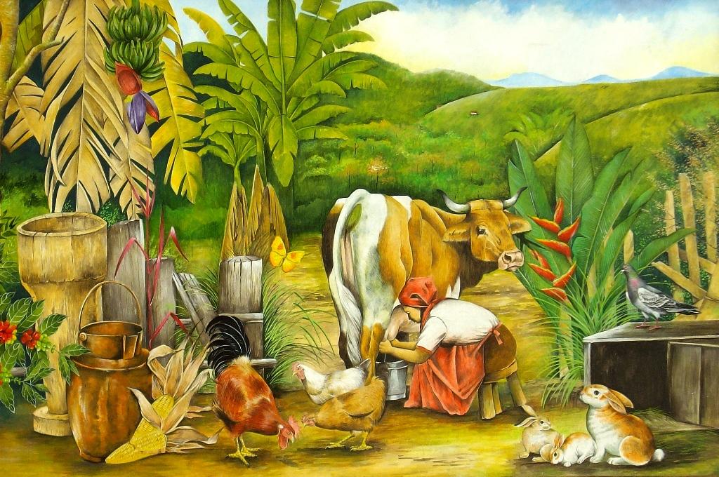 al oleo escena donde una mujer ordena una vaca rodeada de animales de