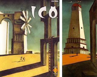 Comparação entre a capa do jogo ICO - PlayStation 2 e o quadro A Nostalgia do Infinito, de Giorgio de Chirico