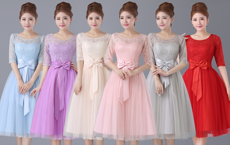 6-Color Half Sleeve Tutu Floral Lace Past Knee Length Bridesmaid Dresses