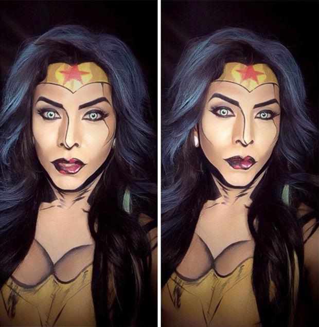 Artista usa maquiagem e body painting para se transformar nos mais diversos super heróis
