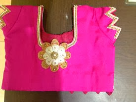 pink colour embroidery back side blouse