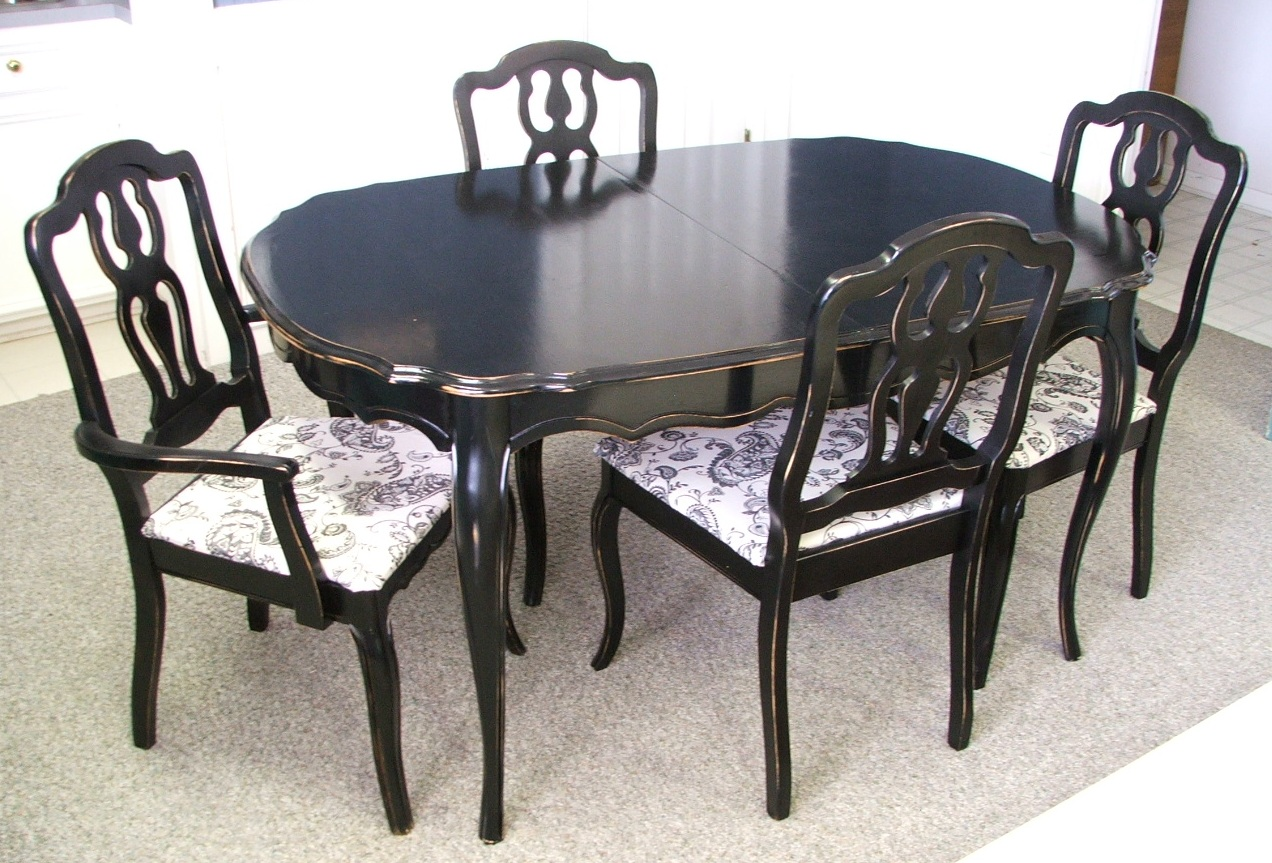 Dining table french provincial chairs