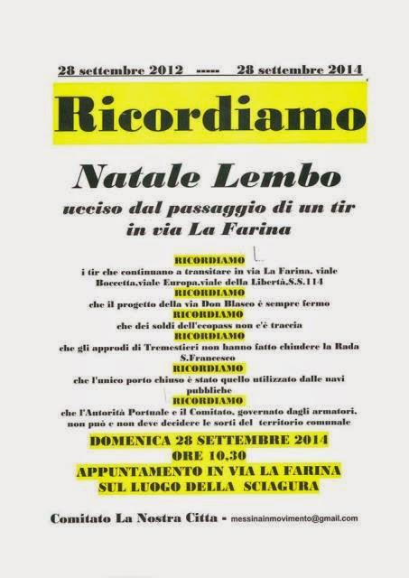 IL COMITATO LA NOSTRA CITTA' COMMEMORA NATALE LEMBO, VITTIMA DI UN TIR