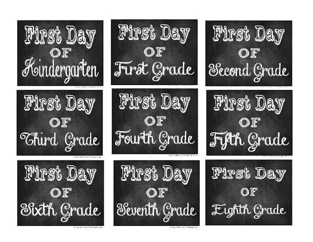 First Day of School Chalkboard Printable Photo Props