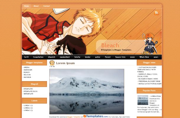 Free Manga Anime Orange Blogger Layout Template