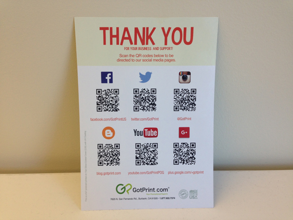 GotPrint Social Media Sites and QR Codes
