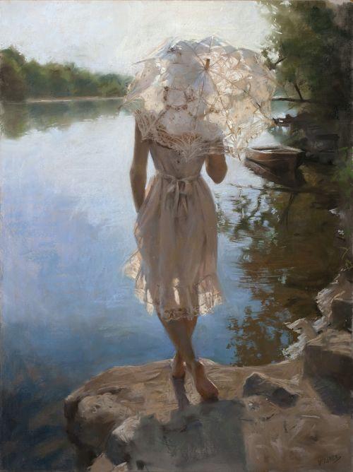 Vicente Romero pinturas mulheres impressionistas beleza Admirando o rio