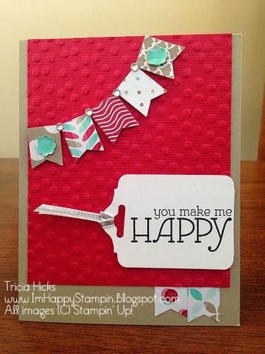 Stampin' Up!, banner punch, happy watercolor stamp set, frsh prints dsp