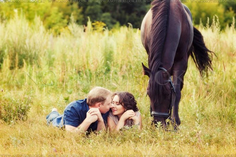 Лежа в поле с лошадью