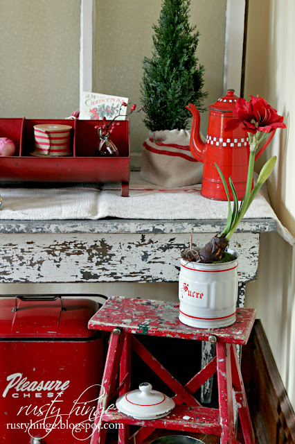 Red and white vintage Christmas vignette
