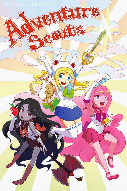 Marceline, Fionna & Cake, and bubblegum Princess with Science the rat as the Adventure Scouts!