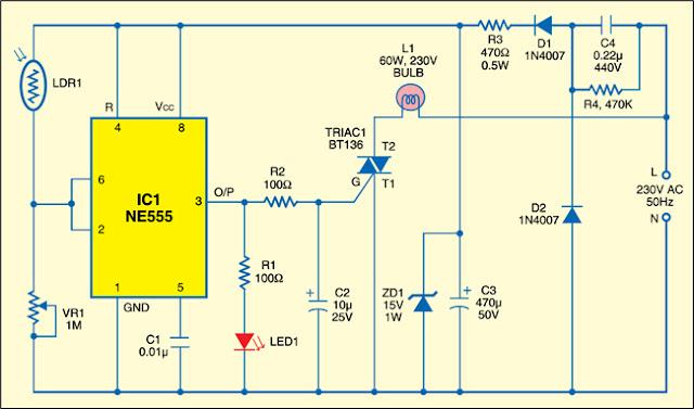 LDR Based DIY Sunset Lamp - Learn Circuit Diagram