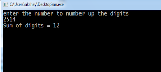 program to sum of digits of a number in c