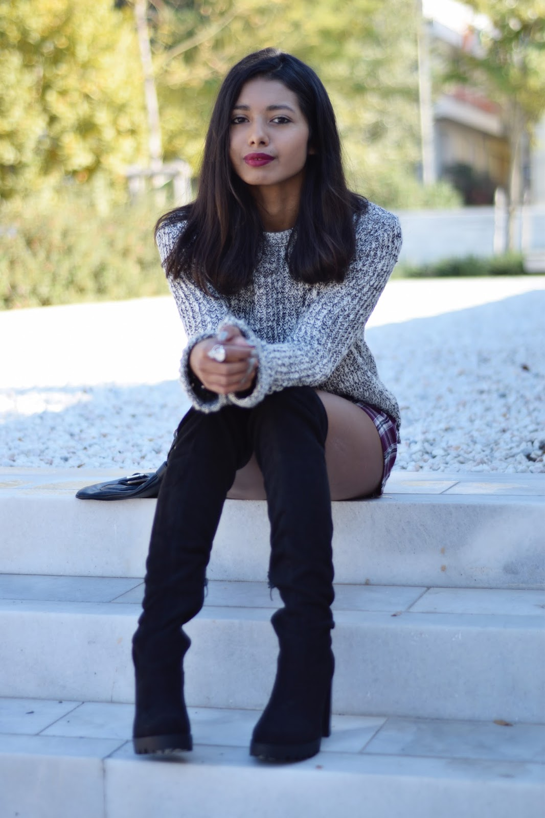 River Island over-the-knee boots topshop plaid skorts and cozy sweater