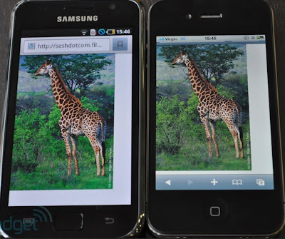 an image showing amoled and lcd on samsung and iphone 4s