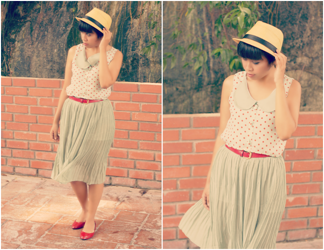 polka dot dress, peter pan collar, outfit of the day, chiffon, vicnity