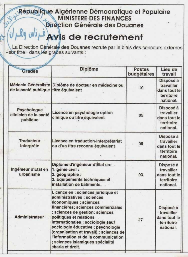 recrutement à Douanes 2013-2014