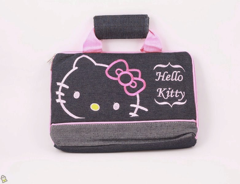 Tas laptop hello kitty warna kombinasi hitam dan pink