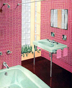 Bathroom design ideas with washer and dryer home for Pink retro bathroom ideas
