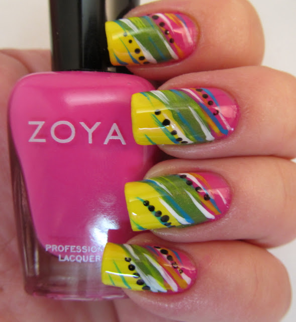 Colorblocking nail art with lines and dots