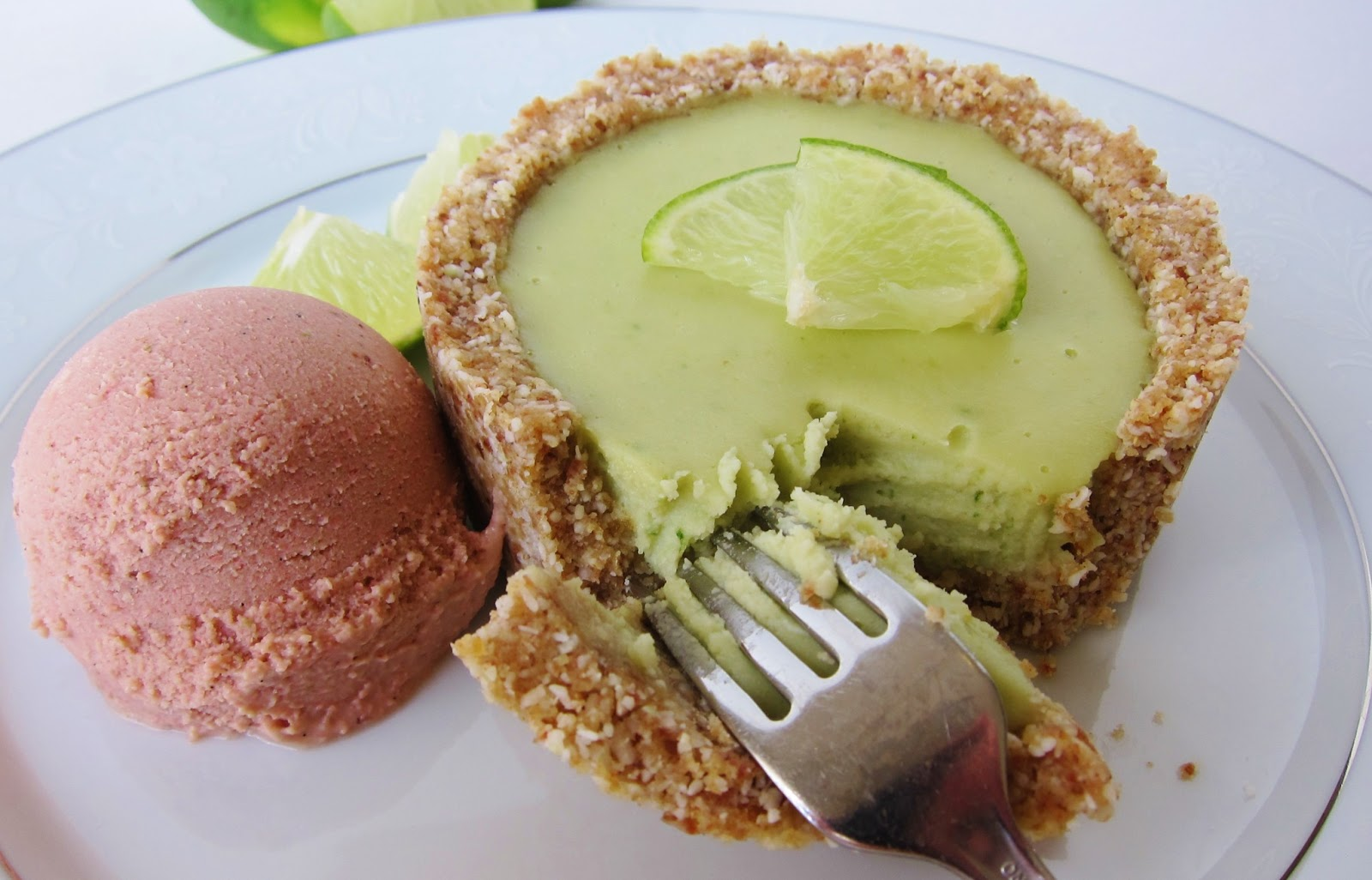 Raw Little Key Lime Tart with Strawberry Lime Ice Cream | Fragrant ...