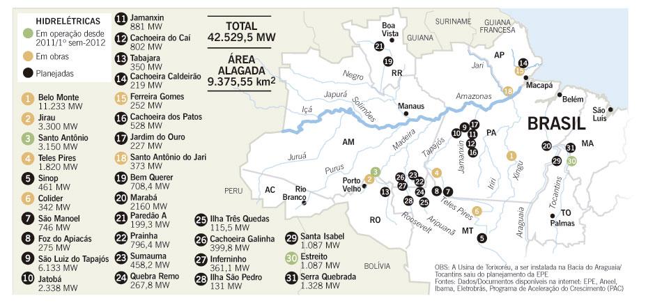 Hidrelétricas na Amazônia. Mapa: por Cândido Cunha, em Língua Ferina