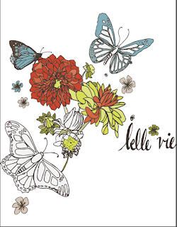 butterfly dahlia illustratiom