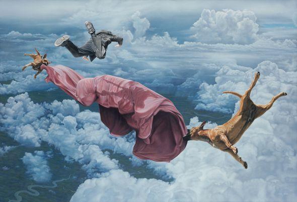 Joel Rea pintura hiper-realista surreal cães gigantes caindo céu O faminto e o assombrado