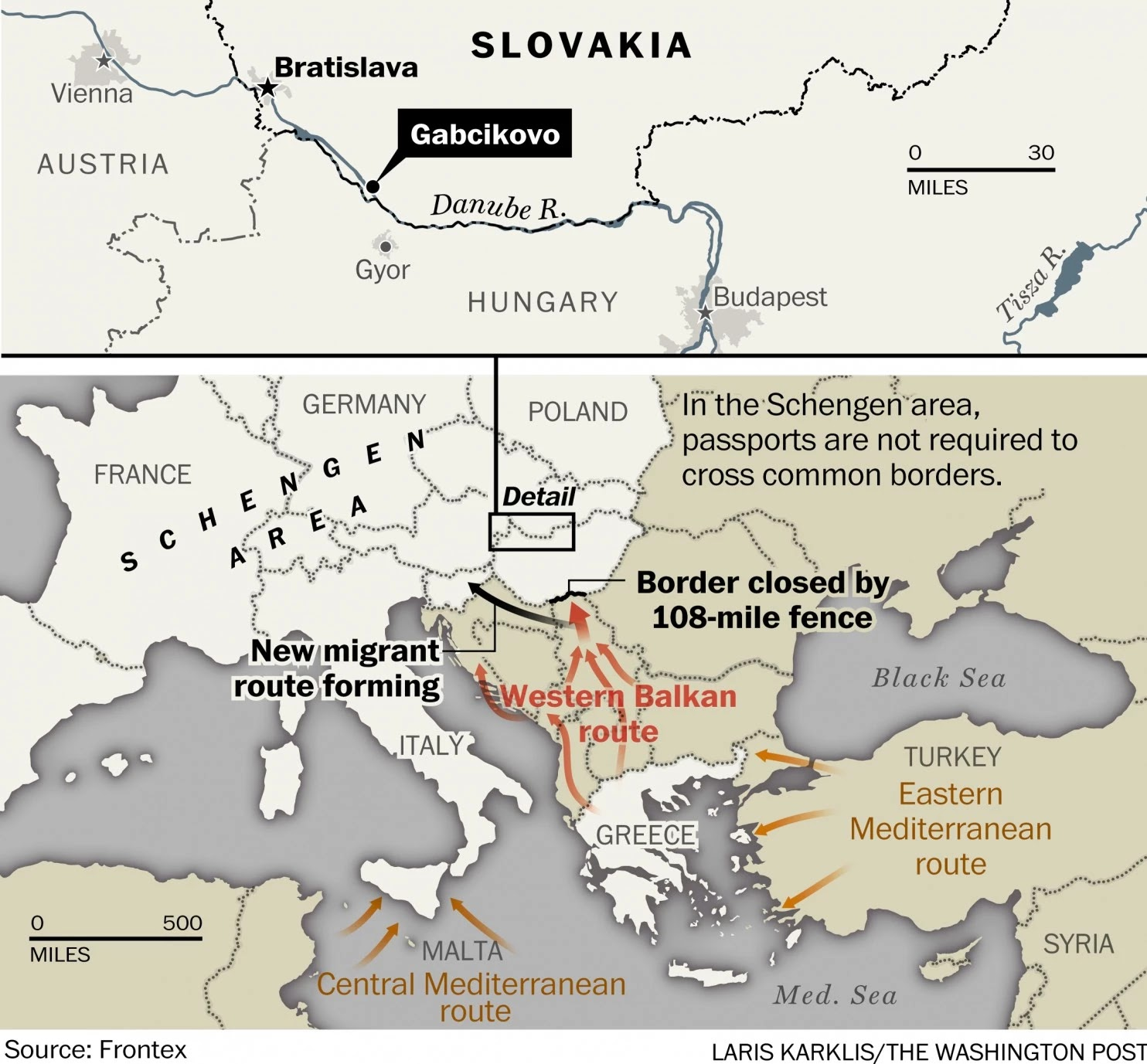 map depiction illustrating the middle eastern and northern african refugee s path into europe and more specifically the town of gabcikovo in slovakia