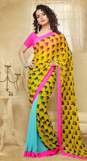 Yellow & Sky Blue Georgette Printed Casual Saree