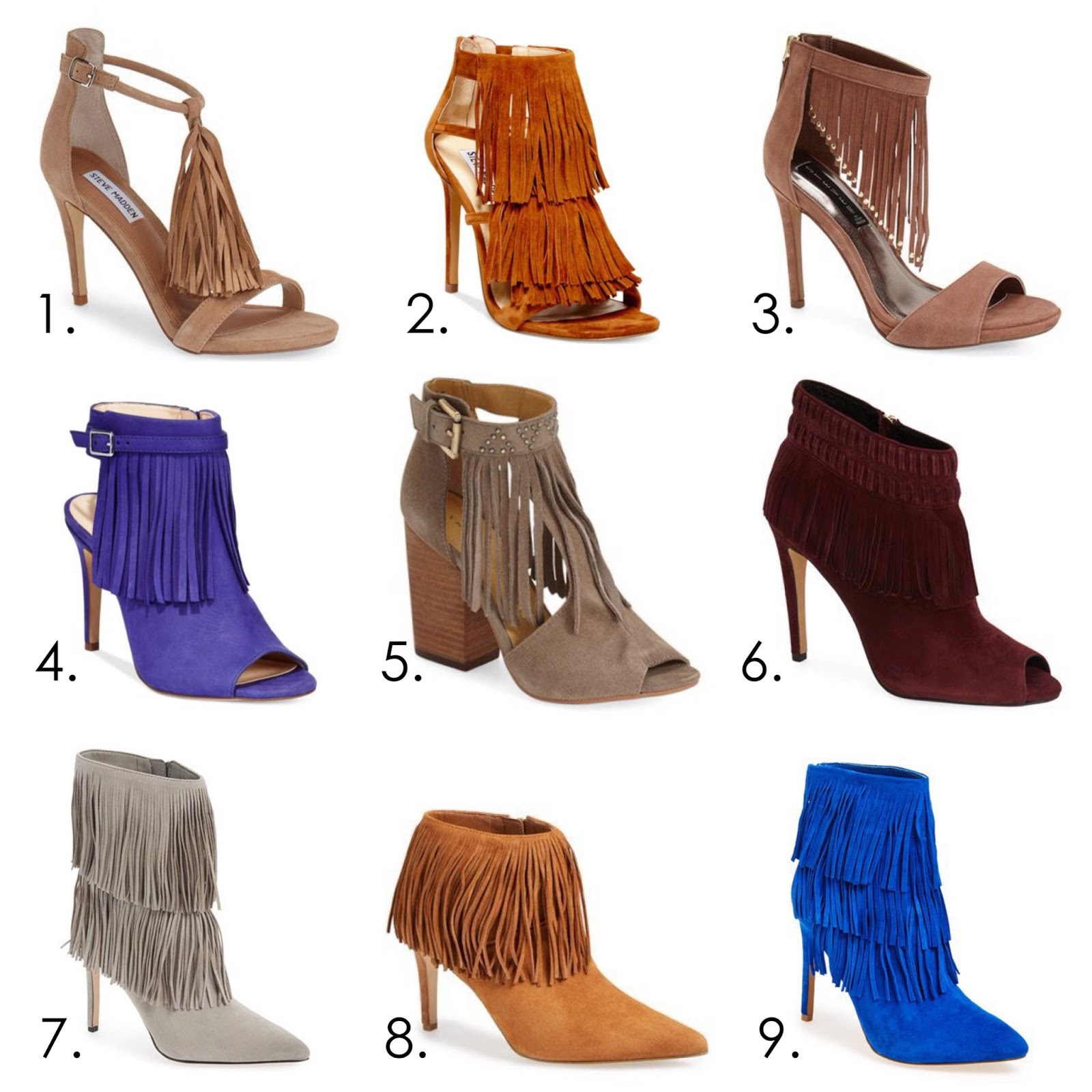 Fringe on heels, fringed booties, fringed shoes, tan fringed shoes, gray fringe booties, fall fringe 2015, fringe trend 2015