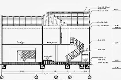 Jasa AutoCAD Desain Rumah Gambar Potongan Melintang