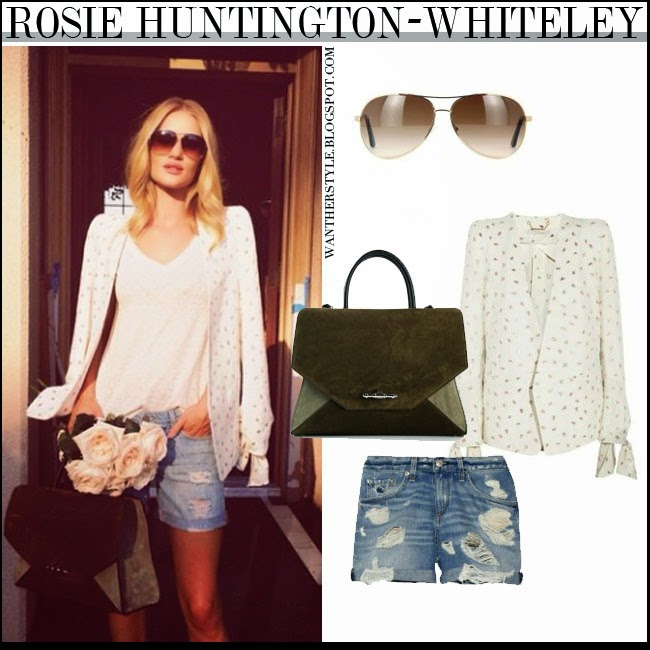 e2a0a3c416a WHAT SHE WORE  Rosie Huntington-Whiteley in white jacket with blue ...