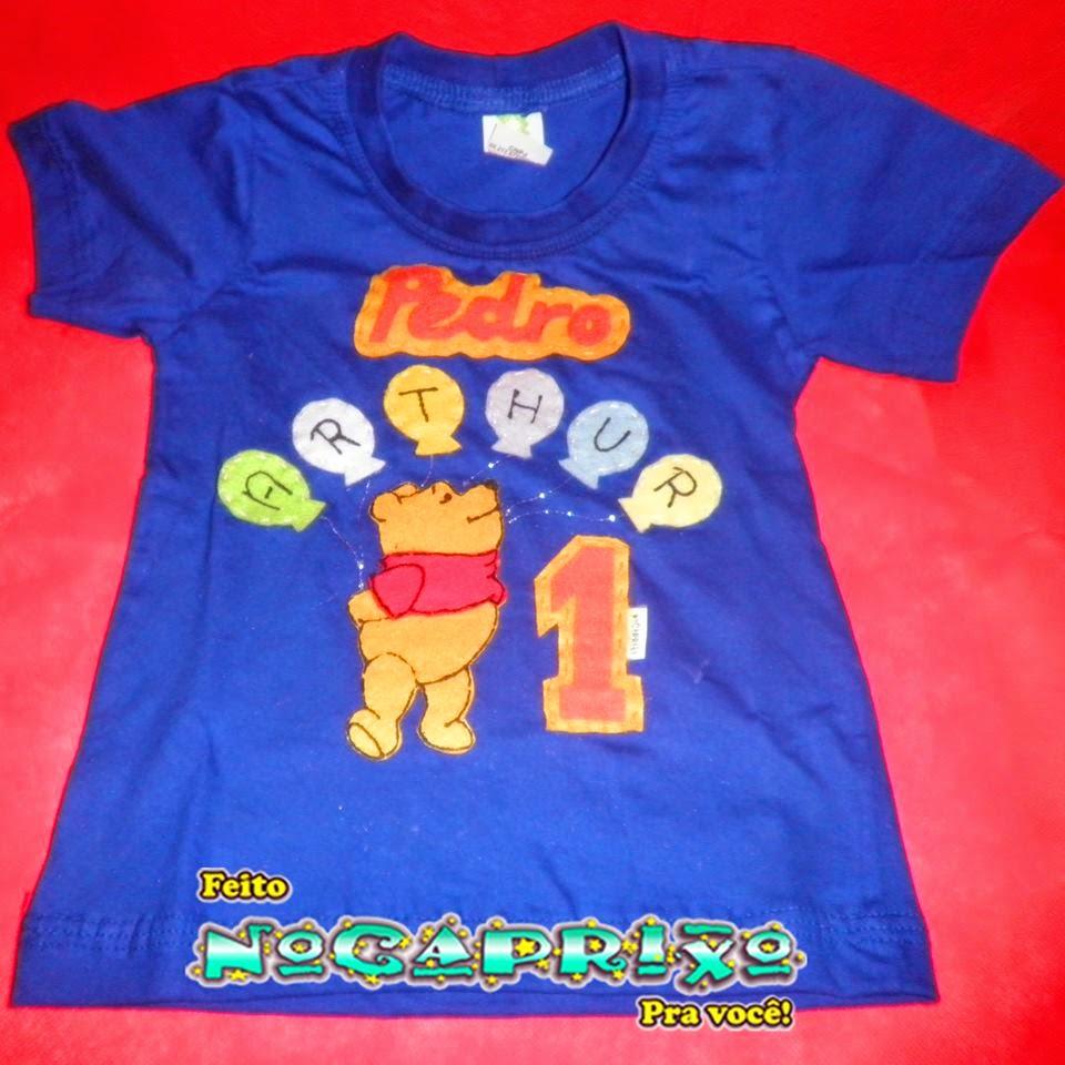 Blusa Personalizada Pooh - com aplicação do tema, nome e idade