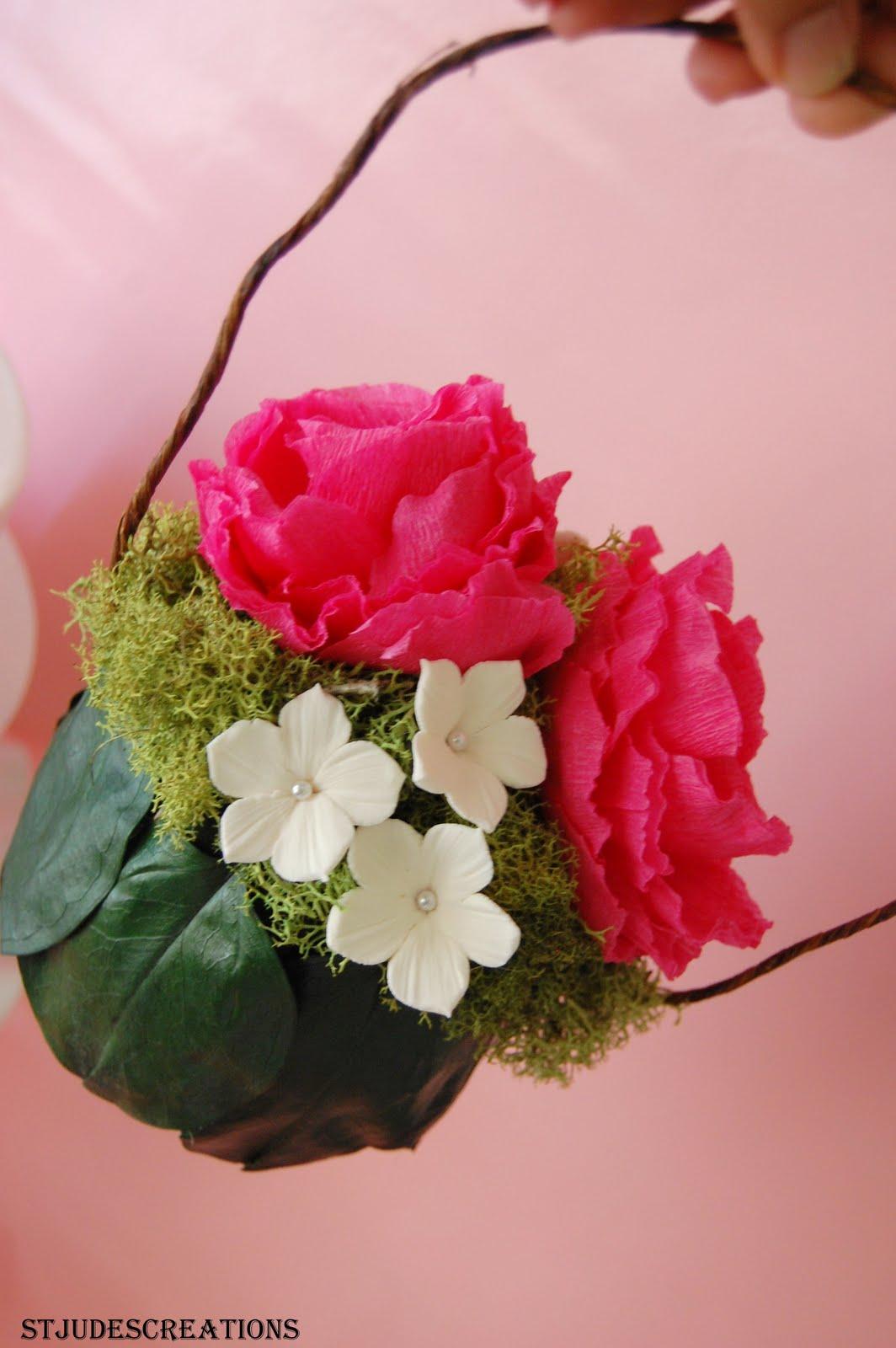 Flower Girl Ball Hot Pink Peony And Stephanotis Garden Wedding