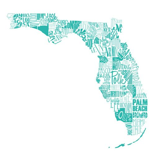 Turquoise Florida Word Map