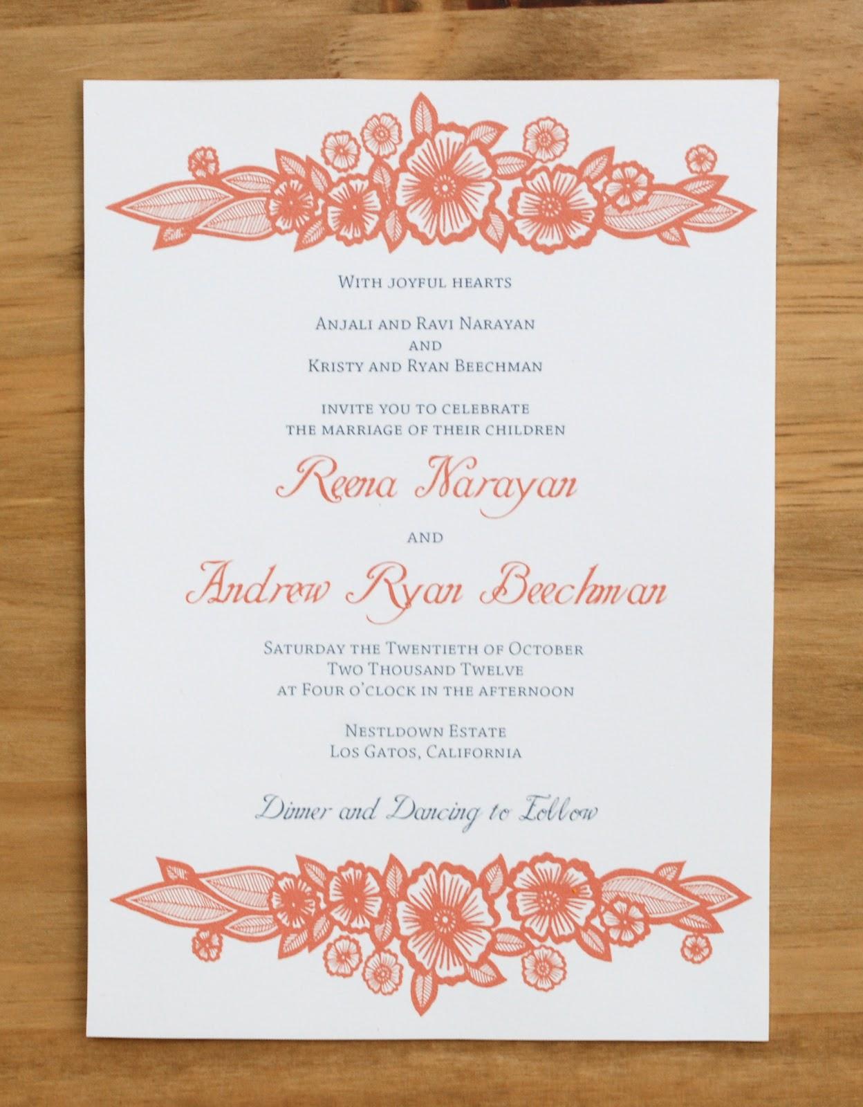 katharine watson henna inspired floral wedding invitations