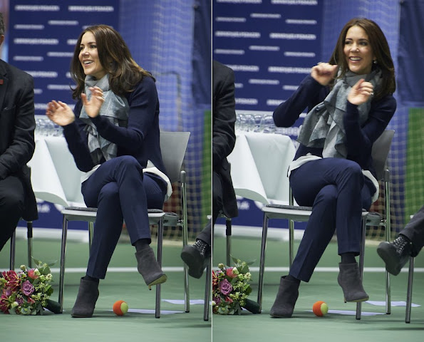 "Crown Princess Mary of Denmark attended the ""Childrens Aid Day"" tennis-events with Caroline Wozniacki in Frederiksberg"