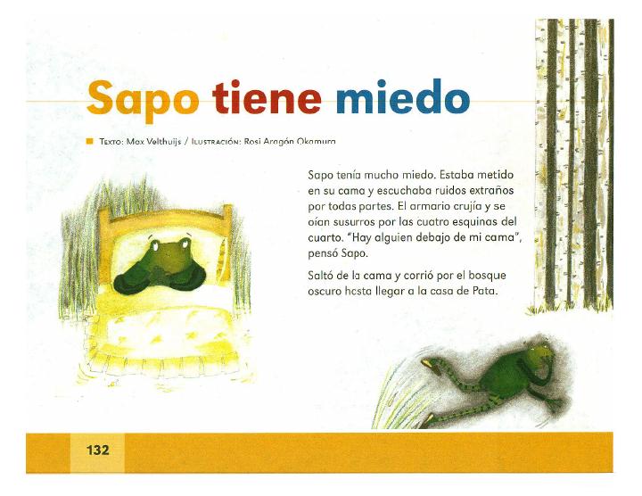 Sapo tiene miedo español lecturas 2do bloque 5/2014-2015