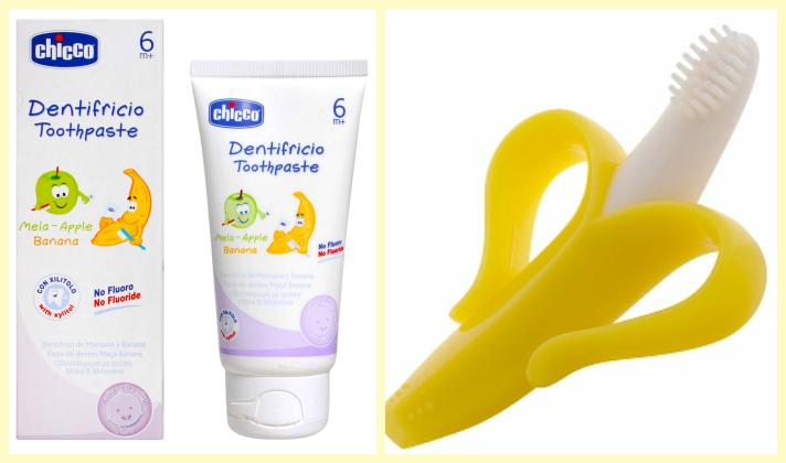 dentífrico chicco platano banana cepillo de dientes infantil