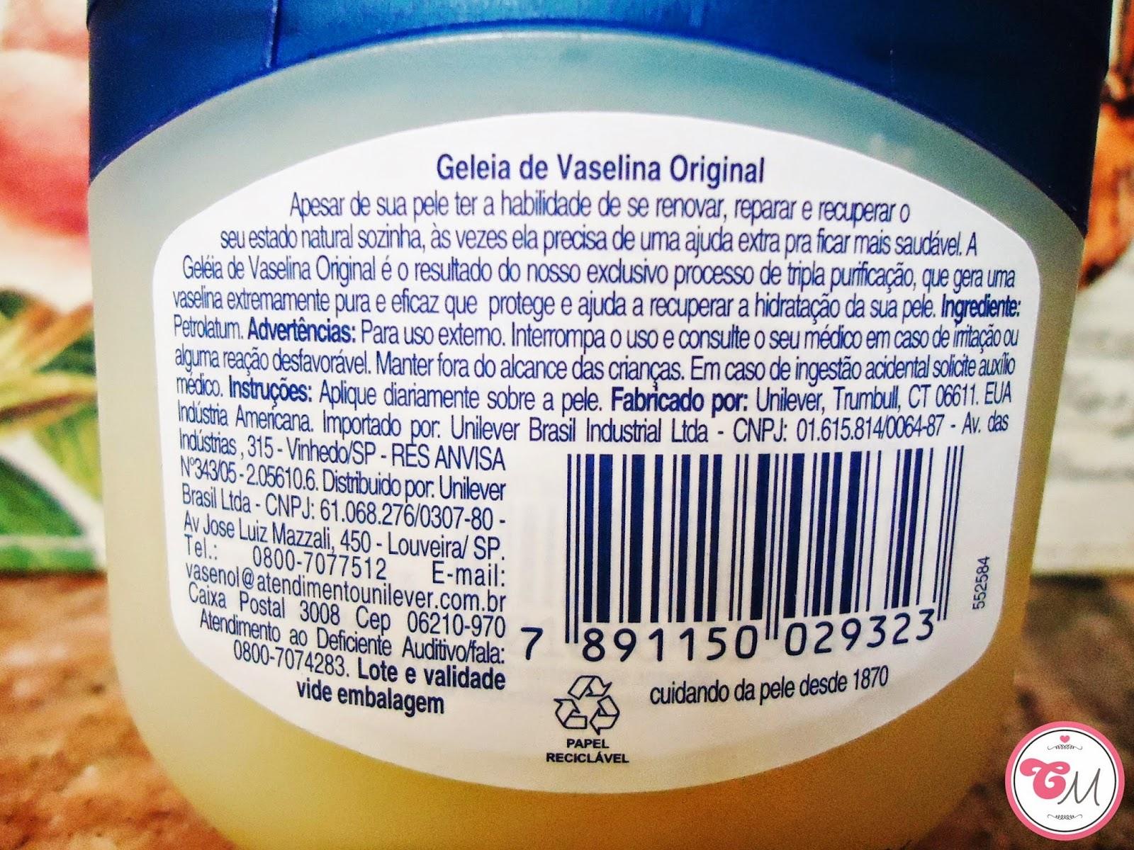 funções da geleia de vaselina original