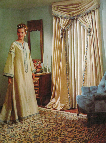 Or Her Drapes? This Middle Eastern Inspired Hostess Caftan Is Made Of The  Same Fabric And Trimmings As Her Draperies. Just The Thing For The Woman  Who Never ...