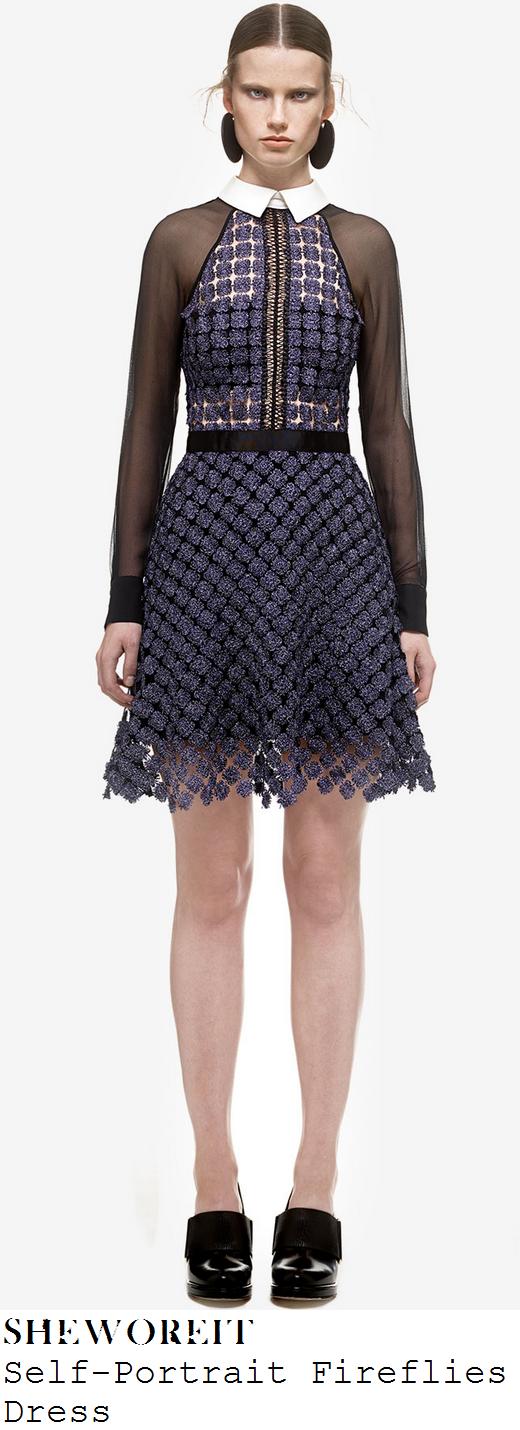 sarah-jane-crawford-dark-blue-embellished-lace-black-mesh-long-sleeve-collared-mini-dress-pandora-birmingham