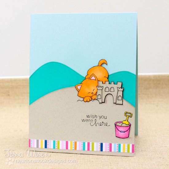 Kitty Beach card by Tessa Wise using Newton's Summer Vacation Cat Stamp set by Newton's Nook Designs