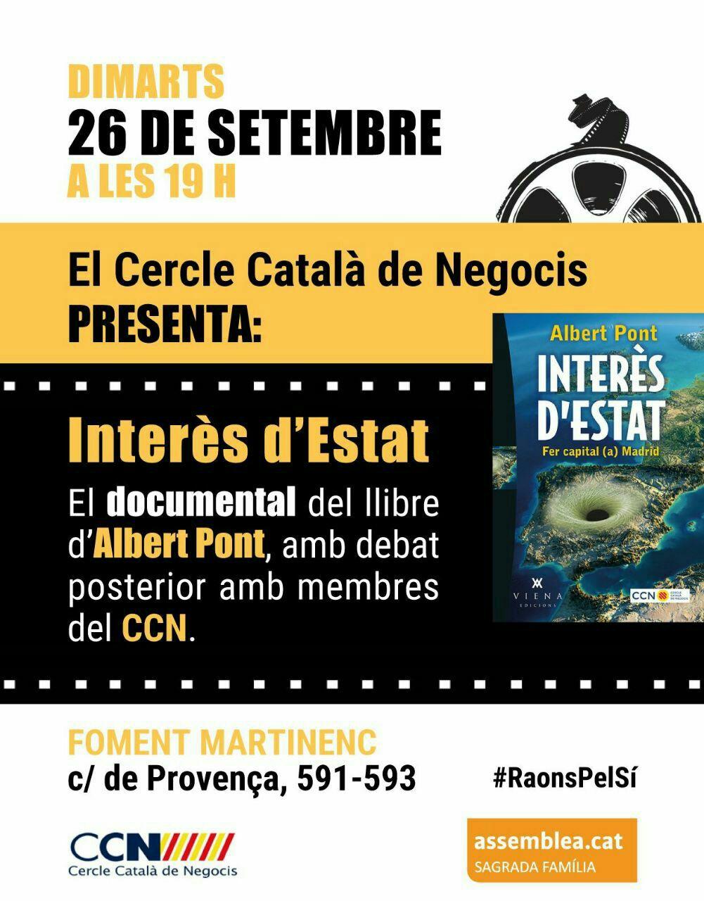 El CCN presenta el documental «Interès d'Estat» amb debat posterior, 26 de setembre. T'hi esperem!
