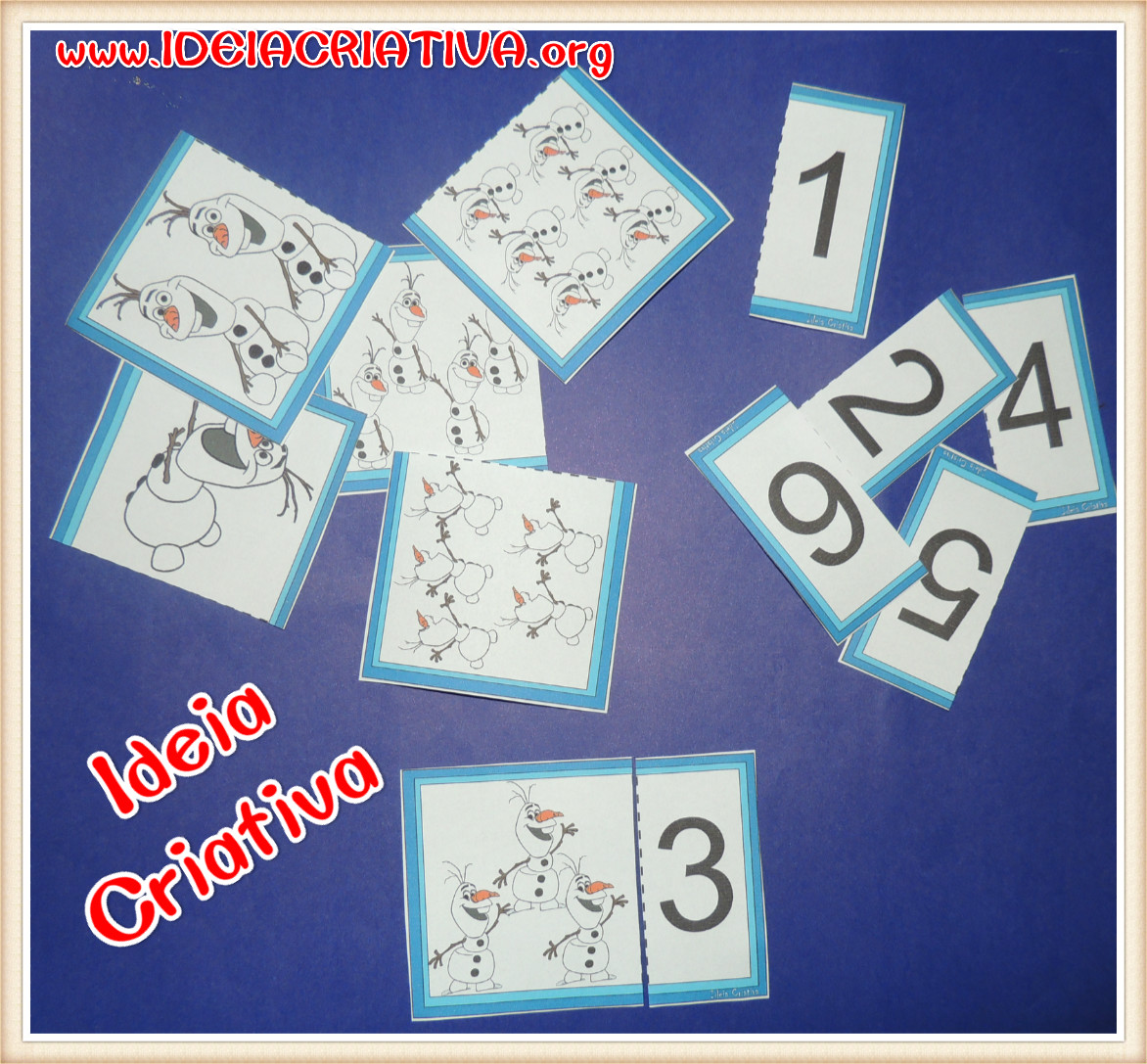 Jogo Número e Quantidade Frozen Boneco de Neve Olaf