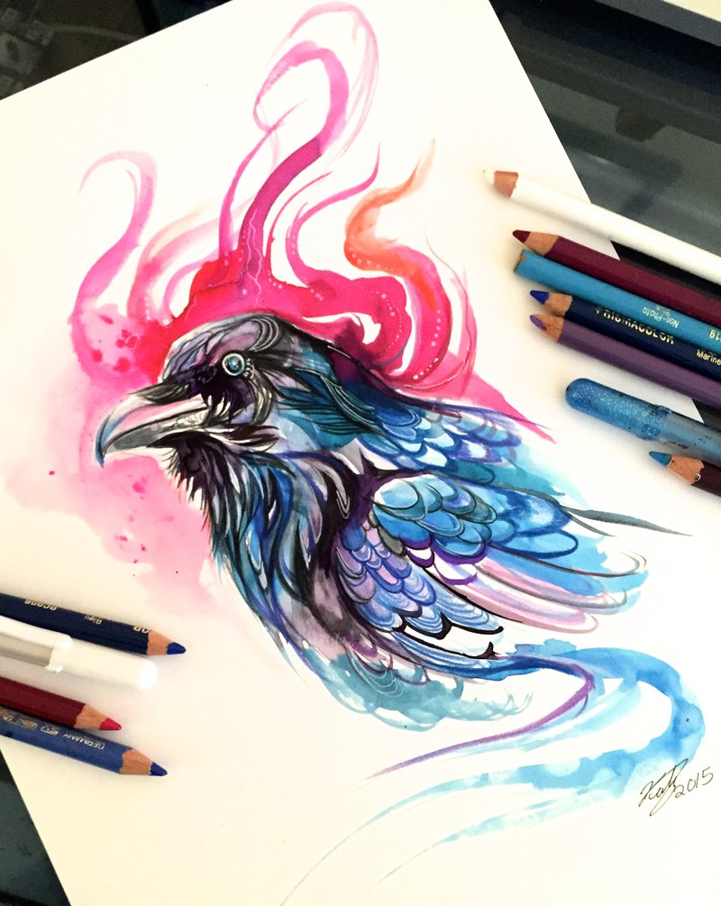 11-Raven-Katy-Lipscomb-Lucky978-Fantasy-Watercolor-Paintings-Colored-Pencils-Drawings-www-designstack-co